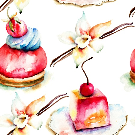 vanilla pudding: Watercolor illustration of cake, seamless pattern Stock Photo