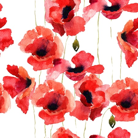 Stylized Poppy flowers illustration, seamless pattern