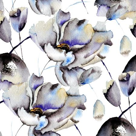 Naadloze patronen met mooie bloemen, aquarel illustratie