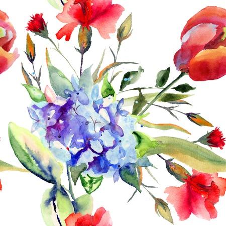 Naadloze behang met mooie zomerbloemen, aquarel illustratie