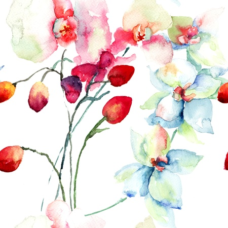 watercolor flower: Seamless patter with Orchids flowers, watercolor illustration