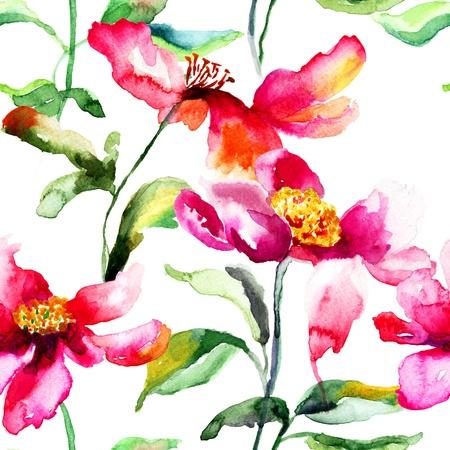Naadloze behang met kleurrijke pioen bloem, aquarel illustratie