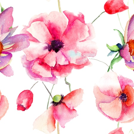 Seamless pattern Beautiful Poppy flowers, Watercolor painting