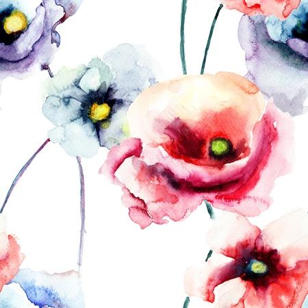 poppy flower: Colorful poppy flowers, watercolor illustration, seamless pattern