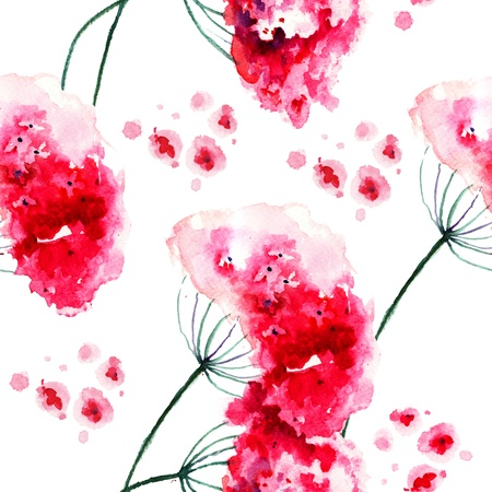 Seamless wallpaper with Wild flowers, watercolor painting