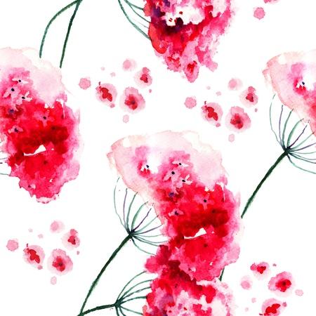 Naadloos behang met Wilde bloemen, aquarel Stockfoto