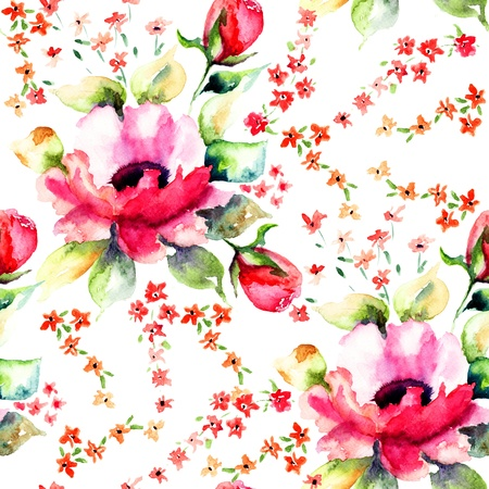Summer illustration of Roses flowers, seamless wallpapers Archivio Fotografico