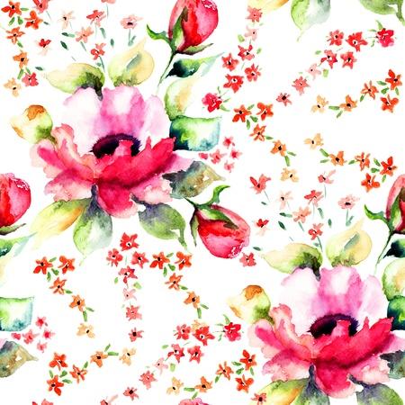 Summer illustration of Roses flowers, seamless wallpapers Stock fotó