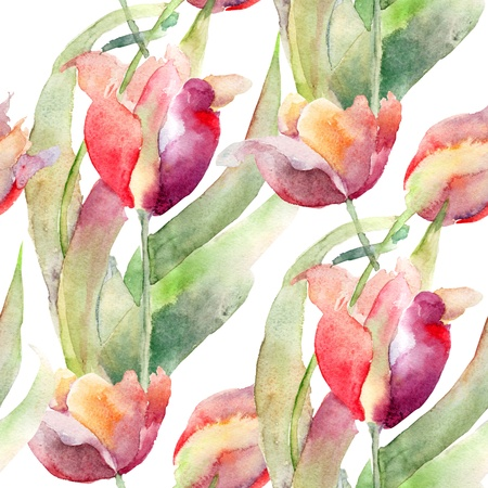 blue tulip: Watercolor illustration of Tulips flowers, seamless pattern