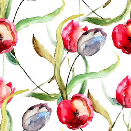 Seamless wallpaper with Beautiful Tulips flowers, Watercolor painting  photo