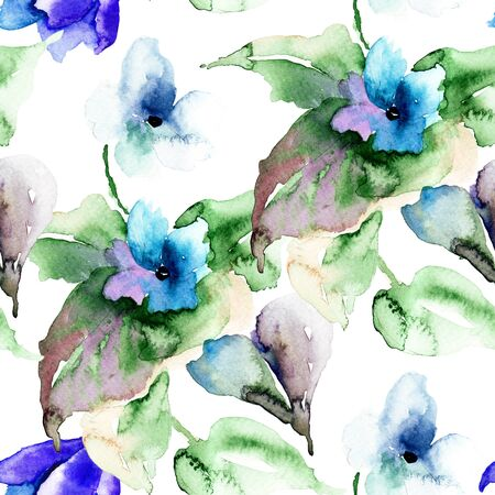 Watercolor illustration of Violet flowers, seamless wallpaper illustration