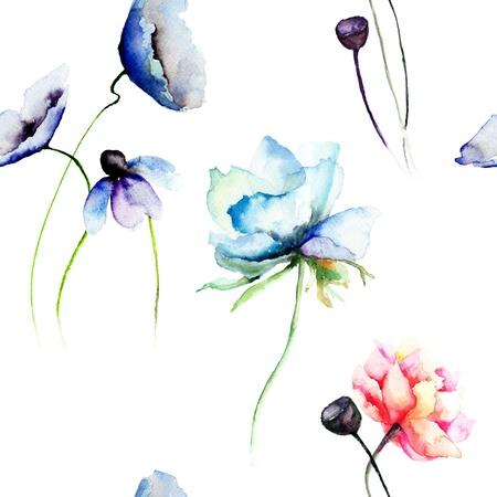 Naadloze behang met gestileerde blauwe en rode bloemen Stockfoto