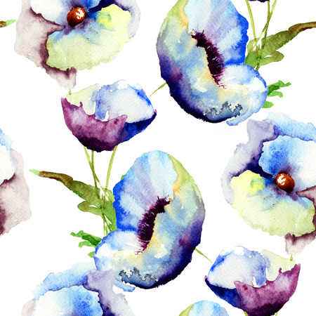 Seamless pattern with Beautiful Blue flowers, Watercolor painting Stock Photo