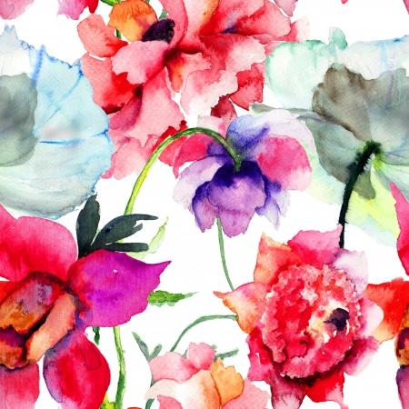 아름다운 모란 꽃 원활한 패턴, 수채화 그림