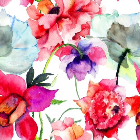 Seamless pattern with Beautiful Peony flowers, Watercolor painting  Stock Photo