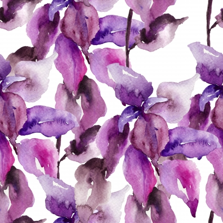 Original floral seamless wallpaper, watercolor illustration Stock Photo