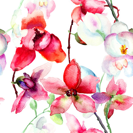 Seamless pattern with Beautiful orchid, watercolor illustration Archivio Fotografico