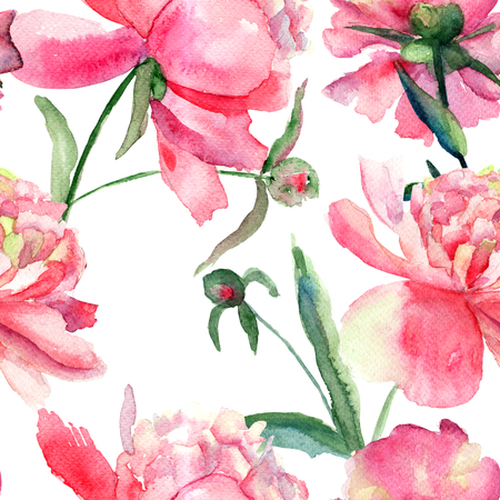 Beautiful Peonies flowers, Watercolor painting; seamless pattern