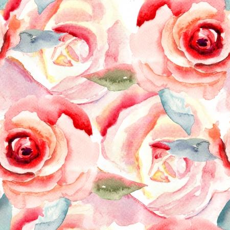 水彩画とバラの花、シームレスなパターン 写真素材
