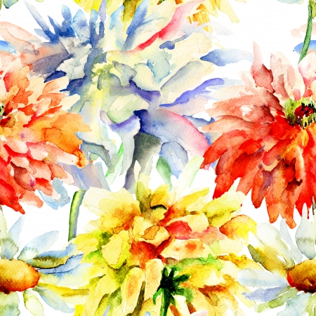 Watercolor illustration with beautiful chrysanthemum flowers, seamless wallpaper Stock Photo