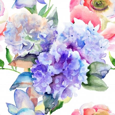Aquarel illustratie van mooie Hydrangea blauwe bloemen, naadloos patroon
