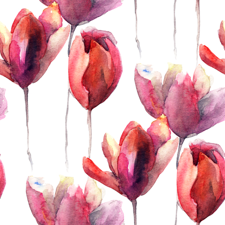 flower structure: Seamless wallpaper with Tulips flowers, watercolor illustration