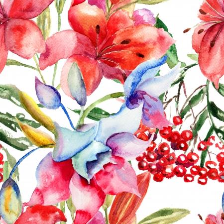 lily flowers: Patr�n sin fisuras con flores de lirio hermoso, ilustraci�n acuarela