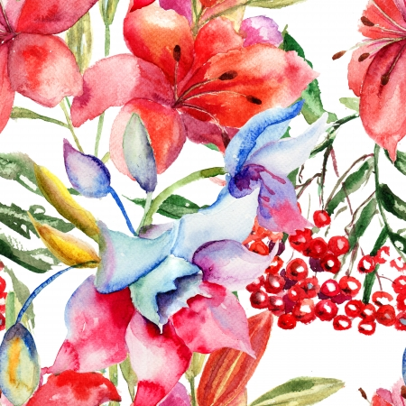 Seamless pattern with Beautiful Lily flowers, watercolor illustration  Stock Photo