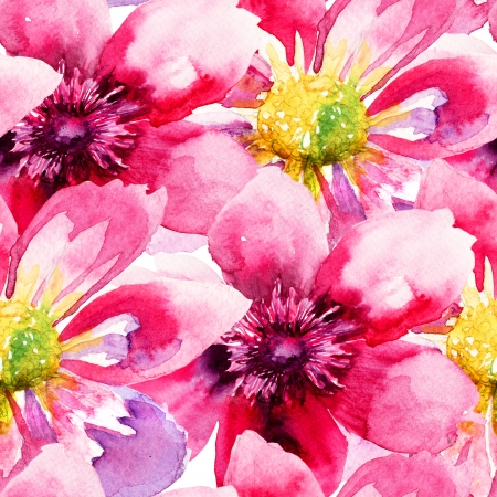 fabric painting: Seamless wallpaper with Pink flowers, watercolor illustration
