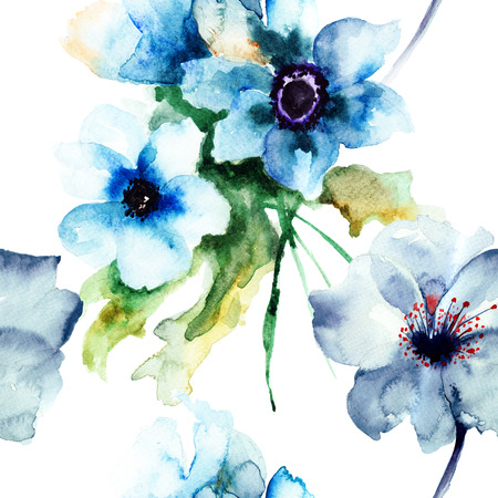 Seamless pattern with Summer blue flowers, watercolor illustration