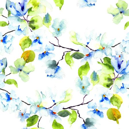 Naadloos patroon met Bloeiende boom brunch, aquarel illustratie