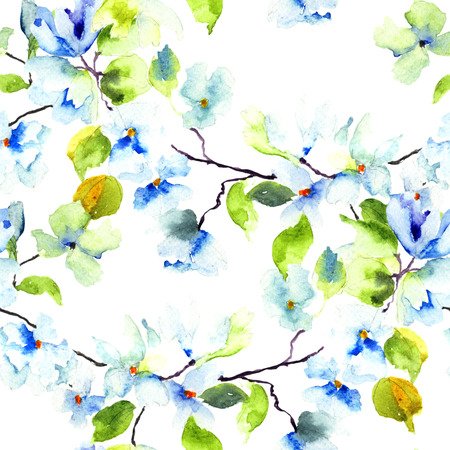 Seamless pattern with Blossoming tree brunch, watercolor illustration