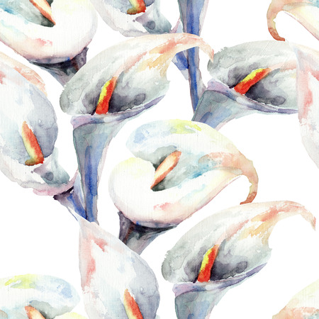 Calla Lily flowers, watercolor illustration, seamless pattern  Stock Photo