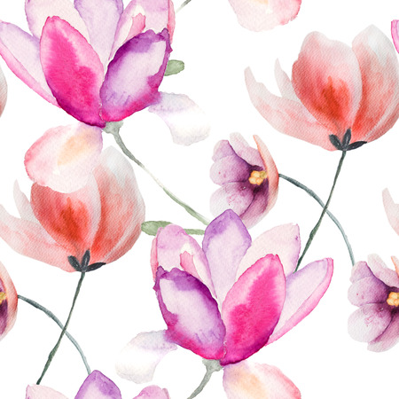 Colorful pink flowers, watercolor illustration, seamless pattern  Stock Photo