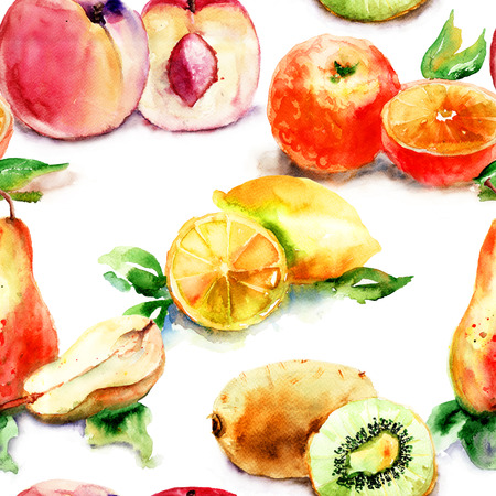 Watercolor illustration of fruit, seamless wallpaper  illustration