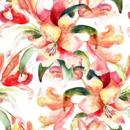 Naadloze patroon met bloemen van de lelie, aquarel illustratie Stockfoto
