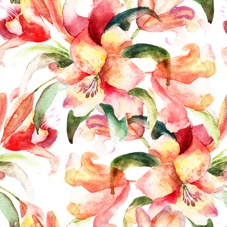 Seamless pattern with Lily flowers, watercolor illustration