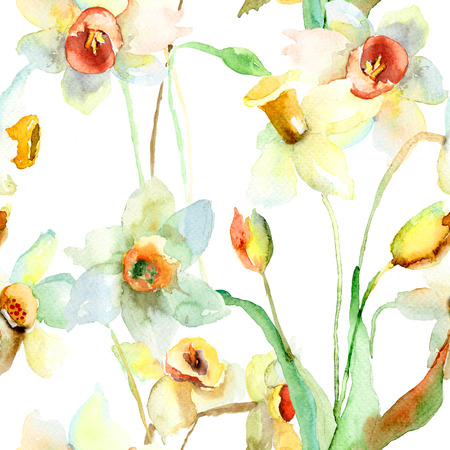 Seamless wallpaper with Narcissus flowers. Watercolor illustration
