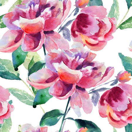 Seamless wallpaper with Beautiful Peony flower, Watercolor painting  Stock Photo