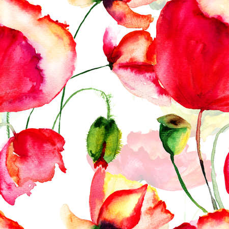 Seamless pattern with Poppy flowers, watercolor  illustration illustration