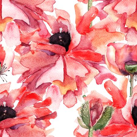 Stylized Poppy flowers illustration, seamless pattern  illustration