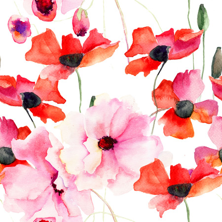 Seamless wallpaper with Colorful pink flowers, watercolor illustration illustration