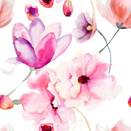 Aquarel naadloze patroon met roze bloemen Stockfoto
