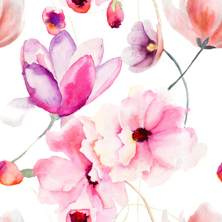 watercolor pen: Watercolor seamless pattern with Pink flowers