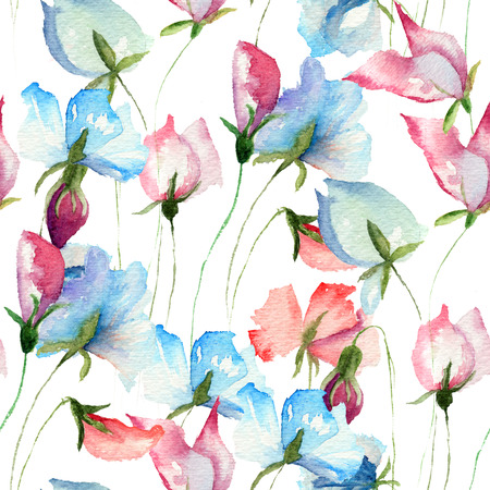 Seamless wallpaper with Sweet pea flowers, watercolor illustration  Stock Photo