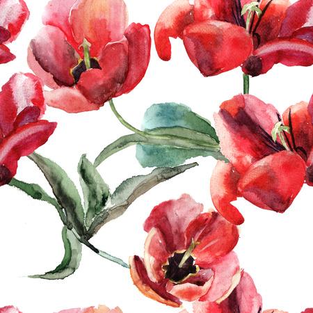 Naadloze behang met mooie tulpen bloemen, schilderen van de waterverf Stockfoto
