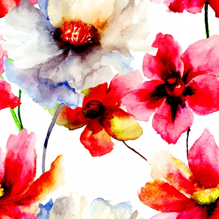 floral tracery: Seamless wallpaper with summer flowers, Watercolor painting