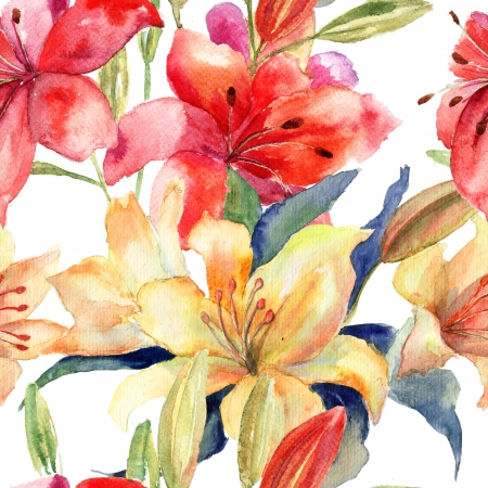Seamless wallpaper with Lily flowers, watercolor illustration  Stock Photo