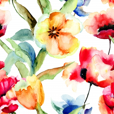 Seamless wallpaper with yellow tulips and poppy flowers watercolor seamless wallpaper with yellow tulips and poppy flowers watercolor stock photo picture and royalty free image image 22420780 mightylinksfo