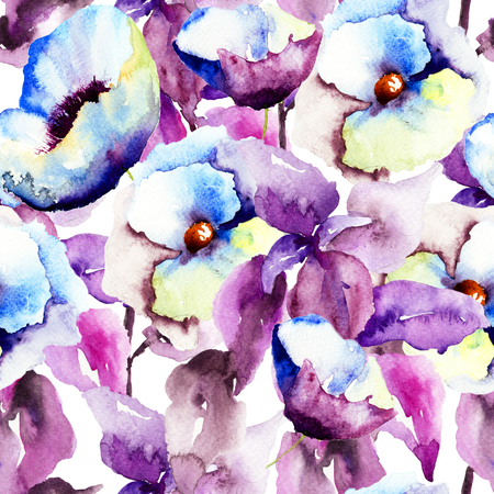 abstract flowers: Seamless pattern with Beautiful Blue flowers, Watercolor painting